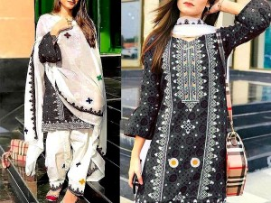Traditional Embroidered Linen Dress with Wool Shawl Price in Pakistan