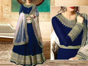 Indian Embroidered Navy Blue Chiffon Maxi with Net Dupatta