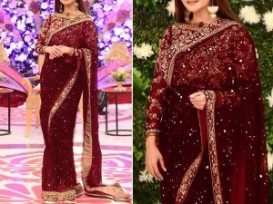 Embroidered Maroon Chiffon Saree with Inner Price in Pakistan