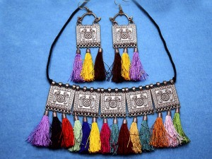 Multicolor Tassels Alloy Antique Silver Jewellery Set Price in Pakistan
