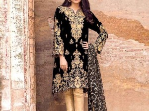 Heavy Sequins Embroidered Velvet Dress with Chiffon Dupatta & Silk Trouser Price in Pakistan
