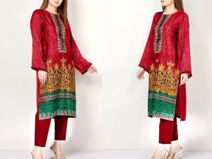 Embroidered Linen Dress 2020 with Linen Dupatta