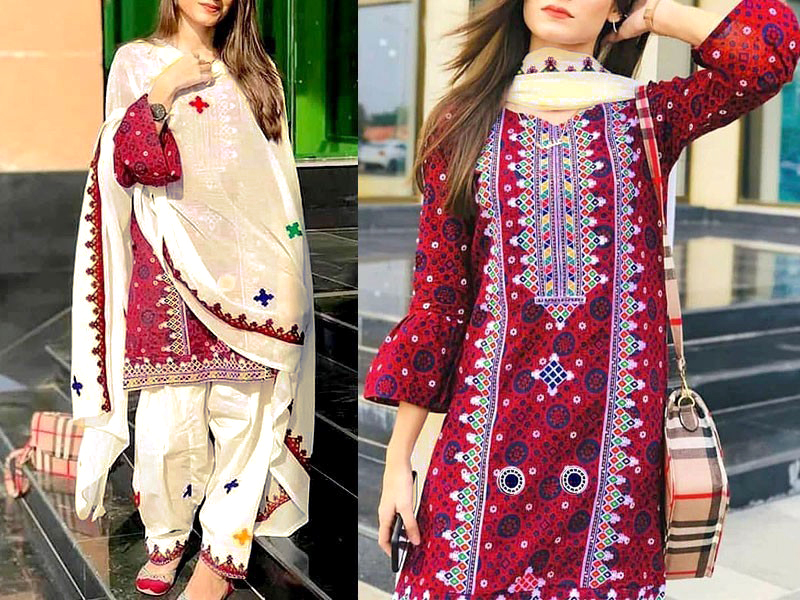 Traditional Embroidered Khaddar Dress with Wool Shawl Price in Pakistan