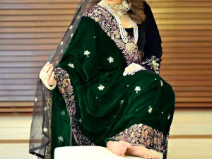 Elegant Embroidered Green Bridal Velvet Shawl Price in Pakistan