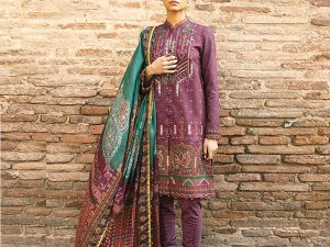 Embroidered Dhanak Dress with Dhanak Shawl Dupatta
