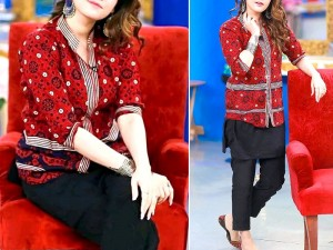 2-Pcs Embroidered Ajrak Design Linen Dress with Embroidered Trouser Price in Pakistan