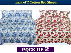 Pack of 2 King Size Crystal Cotton Bed Sheets of Your Choice Price in Pakistan
