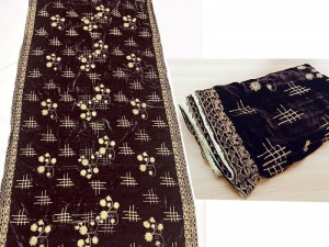 Heavy Embroidered Velvet Shawl - Dark Brown Price in Pakistan