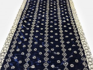 Heavy Embroidered Velvet Shawl - Navy Blue Price in Pakistan