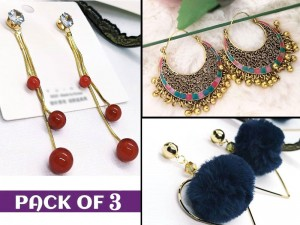 Pack of 3 Fashion Earrings for Gilrs Price in Pakistan