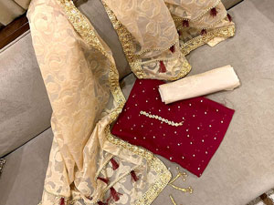 Embroidered Maroon Banarsi Dress with Organza Jacquard Dupatta Price in Pakistan