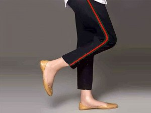 Ladies Cotton Stripped Cigarette Pant - Black Price in Pakistan
