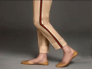 Ladies Cotton Stripped Cigarette Pant - Skin