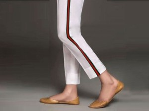 Ladies Cotton Stripped Cigarette Pant - White Price in Pakistan