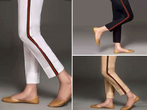 Pack of 3 Ladies Cotton Stripped Cigarette Pants Price in Pakistan
