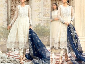 Elegant Embroidered White Chiffon Wedding Dress Price in Pakistan