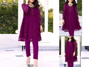 Heavy Embroidered Purple Net Kurti with Inner Price in Pakistan