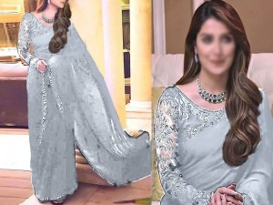 Designer Embroidered Grey Chiffon Saree with Inner Price in Pakistan