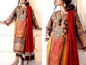 Sequins Embroidered Linen Dress with Linen Dupatta Price in Pakistan