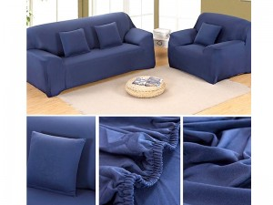 7 Seater Jersey Sofa Protector Slipcovers - Blue