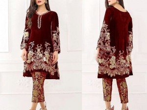 Embroidered Maroon Velvet Dress with Net Dupatta