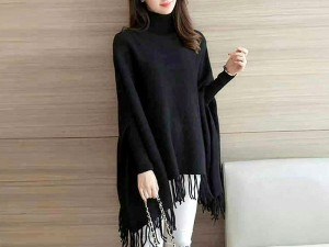 Black Poncho Style Fleece Top for Girls