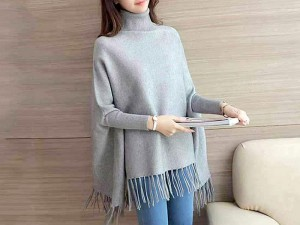 Grey Poncho Style Fleece Top for Girls