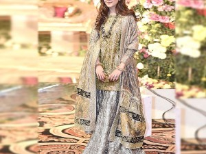 Handwork Heavy Embroidered Masoori Dress with Silk Lehenga Price in Pakistan