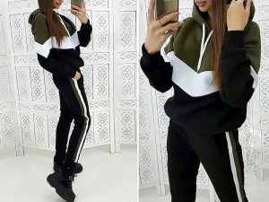 Women's Cross Panel Track Suit - Black Price in Pakistan