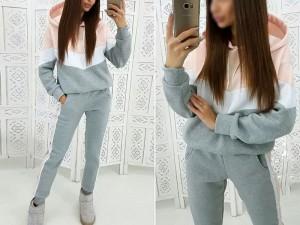 Women's Cross Panel Track Suit - Grey