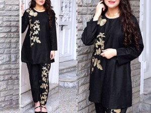 2-Pcs Ready Made Embroidered Boski Linen Dress