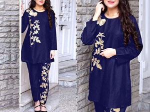 2-Pcs Ready Made Embroidered Boski Linen Dress - Blue