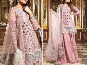 Cutwork Heavy Embroidered Organza Dress with Net Dupatta