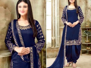 Indian Mirror Work Embroidered Navy Blue Chiffon Dress Price in Pakistan