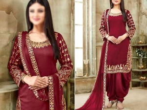 Mirror Work Embroidered Maroon Chiffon Dress Price in Pakistan
