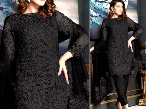 Heavy Embroidered Black Chiffon Wedding Dress Price in Pakistan
