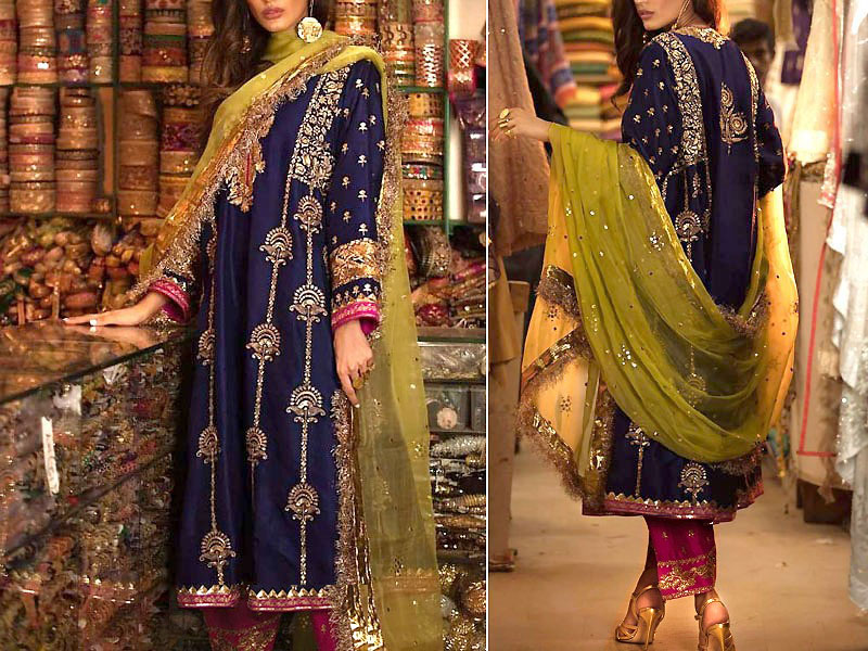 Heavy Embroidered Chiffon Mehndi Dress with Net Dupatta