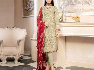 Embroidered Grey Chiffon Dress with Red Chiffon Dupatta Price in Pakistan