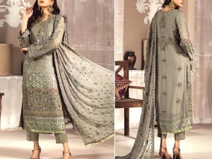 Embroidered Grey Chiffon Dress with Chiffon Dupatta Price in Pakistan
