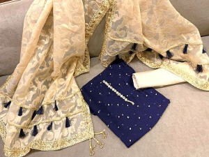 Embroidered Navy Blue Banarsi Dress with Organza Jacquard Dupatta Price in Pakistan