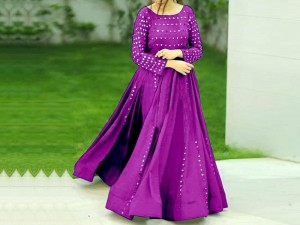 Ready Made Mirror Work Embroidered Boski Linen Maxi - Purple Price in Pakistan