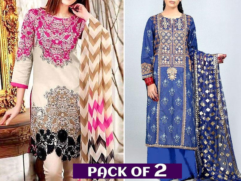 Pack of 2 Embroidered Linen Suits with Wool Shawl Price in Pakistan