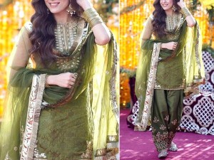 Mirror Work Embroidered Organza Green Mehndi Dress Price in Pakistan