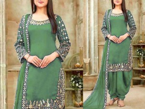 Mirror Work Embroidered Chiffon Dress
