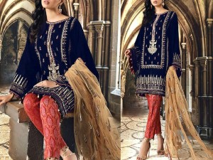 Elegant Embroidered Navy Blue Velvet Dress with Net Dupatta Price in Pakistan