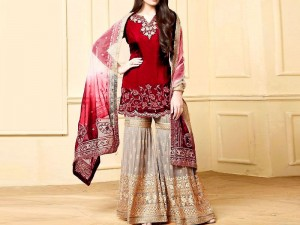 Elegant Embroidered Red Chiffon Dress with Net Dupatta