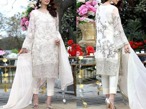 Heavy Embroidered Handwork White Chiffon Wedding Dress 2021 with Chiffon Dupatta