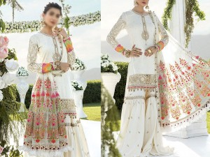 Heavy Embroidered White Chiffon Fancy Wedding Dress 2021 Price in Pakistan