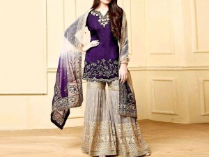 Indian Embroidered Purple Chiffon Dress with Net Dupatta Price in Pakistan