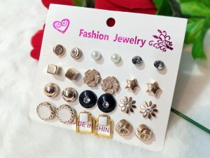 12 Pairs of Trendy Ear Studs Price in Pakistan